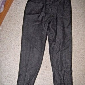 Black w/ White Tweed Fleck Wool Blend Dress Pants